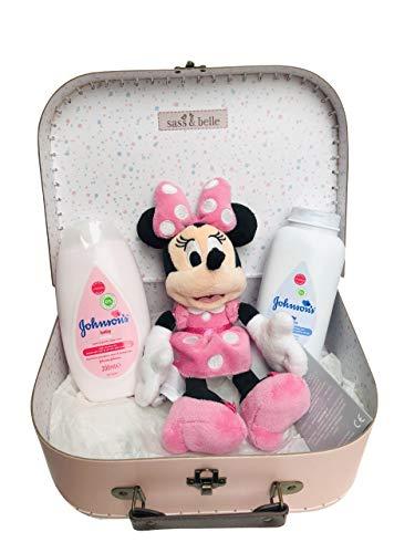 Disney Minnie Maus weicher Sitzsack Baby Toilettenartikel Neugeborenes Baby Geschenkkorb Tragetasche Koffer Set – Pink – 25 x 18 x 8 cm