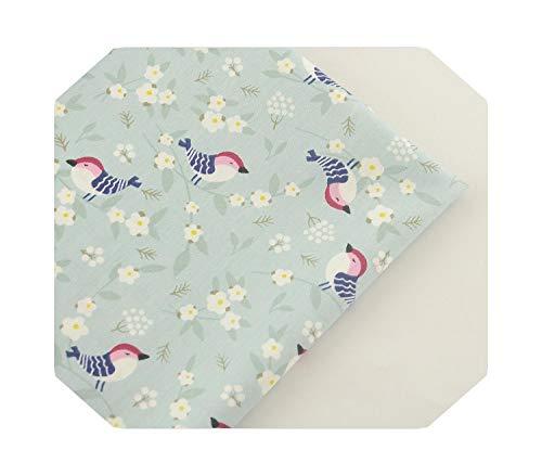 Tissu artisanal décoratif | Tissu en coton sergé vert clair Oiseaux Design Textile de maison Patchwork Literie Vêtements Quilting -32x32-