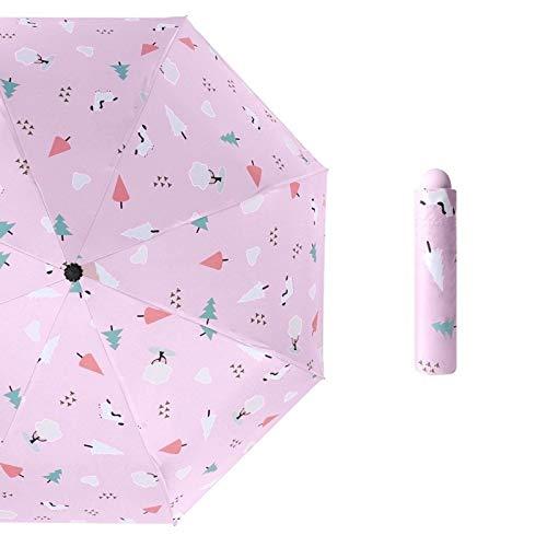 Maria-UK Paraguas plegable de vinilo paraguas plegable paraguas pequeño fresco paraguas de dibujos animados (color: 8)