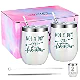Wine Tumbler Cups Gift for Women 12 oz Wine Tumbler With Lid Tumblers Water Glasses Wine Coffee Cocktails Champaign Ice Cream Wine Champagne Glasses Stainless Steel Tumbler Stemless Cups