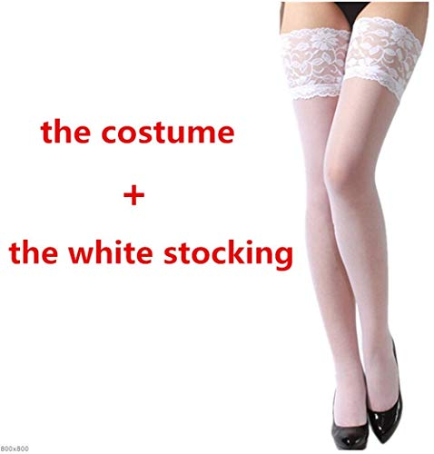 NO LOGO K-Fang, Frauen Nachtkleid Porno Sexy Krankenschwester Kostüme Rollenspiel Weiß Hohl Baby Doll Dessous Halter Verband Krankenschwester Kostüm (Farbe : Whit Stocking, Größe : XS)