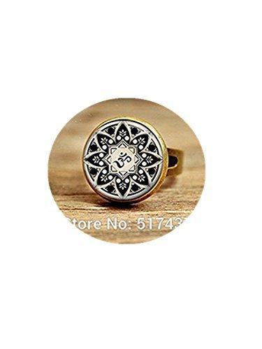 Joyería de yoga, budismo, meditación, anillo de arte mandala