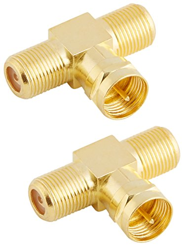 Poppstar 2X SAT TV Coax Verteiler T-Stück (2X F-Buchse auf 1x F-Stecker), F-Adapter Antennenkabel Adapter Splitter für Koaxialkabel - Antennenkabel (Antennenadapter Kupplung), vergoldete Kontakte