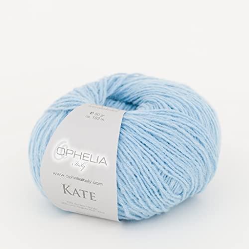Ophelia Italy Kate - 012 Celeste Baby - Gomitoli Lana 50g Filato Classico lineare 30% Lana...