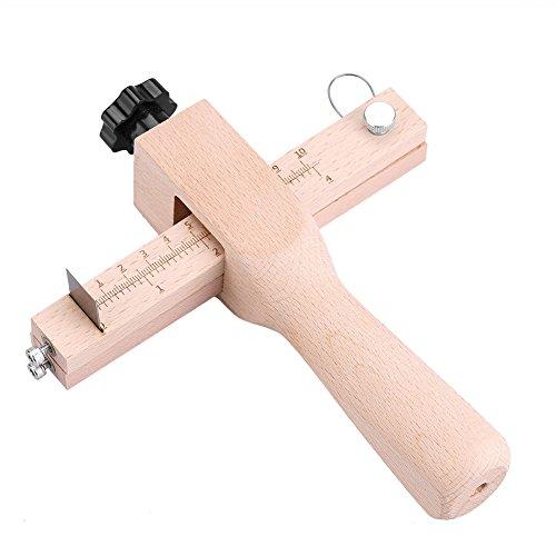 Cortador de correa de cuero Mano de madera Craftool de cuero Herramienta de corte ajustable de cortador de correa con 5 cuchillas