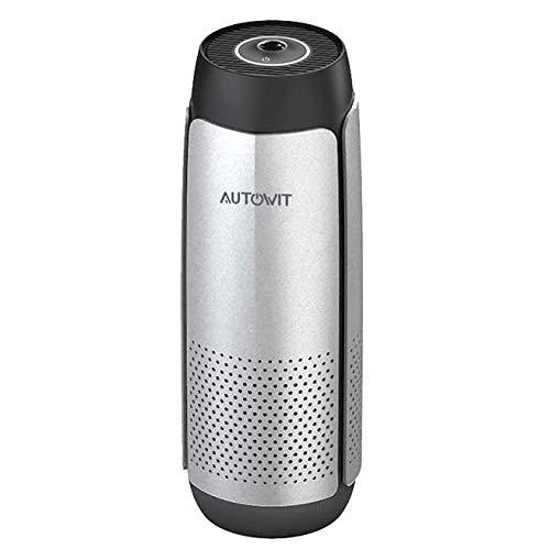 Autowit Fresh 2 Auto Luftreiniger mit LED Luftqualitätsanzeige, mini Luftbefeuchter mit Echtem HEPA-Filter, Aluminium spacegrau