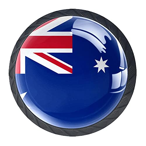 Manijas de gabinete de cristal de la bandera de Australia 4 piezas 35 mm manija de cajón para gabinete de cocina tocador gabinete armario armario
