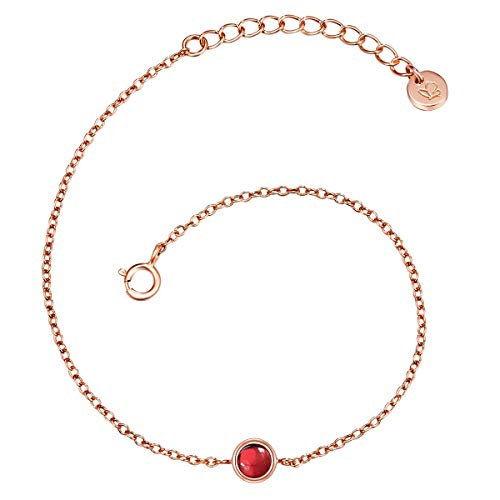 Glanzstücke München Damen-Armband Sterling Silber 925 rosévergoldet mit Granat - Edelstein-Armband mit Stein Granat-Armband Rosegold-Farben