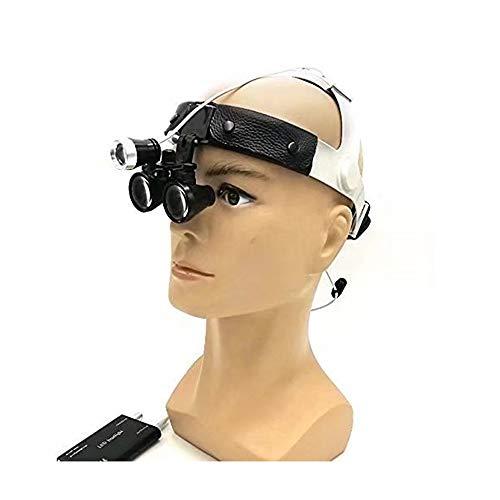 DX.JZ Chirurgico Binoculare Medico Lente di ingrandimento 3.5X420mm Occhialini Pelle Fascia per Capelli con LED Lampada per Stomatologia, Dentale, Ortopedico, Chirurgia di Sutura