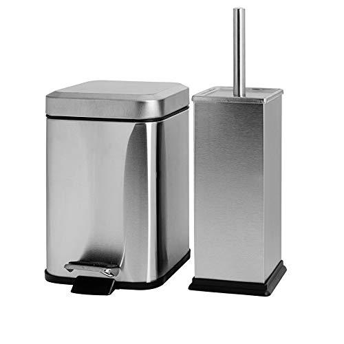 Harbour Housewares Poubelle de Salle de Bain carrée à pédale et Brosse à Toilettes - Poubelle de 3 litres - métal brossé