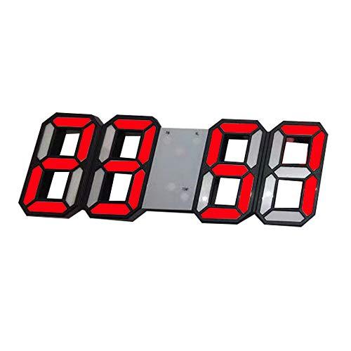 DIYARTS Digitaler Wecker Fashion Smart Elektronische Wanduhr 12H/24H Zeitanzeige Nacht Wanduhr Helligkeit einstellbar 3D Digitaluhr Wecker für Schlafzimmer Büro (Schwarz - Rot)