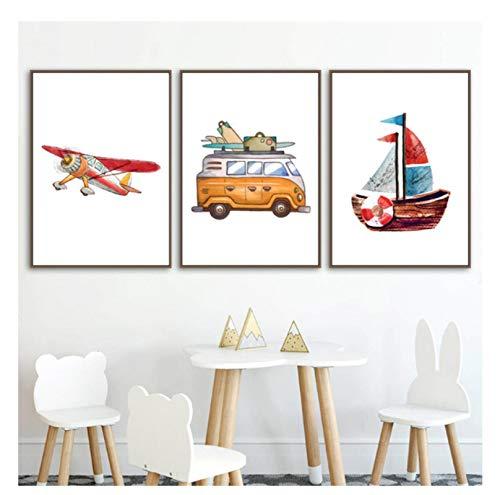 Vscdye Aquarell Camping Fahrzeug Leinwand Drucke Zeichnung Flugzeug Schiff Poster Jungen Kinderzimmer Wandkunst Dekoration Druck auf Leinwand-50x70cmx3Nein Rahmen