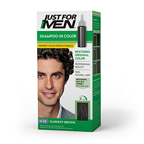 Just for Men Just For Men Shampoo-In Color (Formerly Original Formula), Darkest Brown, H-50 (Packaging May Vary)