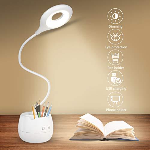 Lámpara de Escritorio LED,Lámpara de Lectura Regulable con 4 Brillos Lámpara de Mesa Recargable USB, para Estudio de Oficina En Casa Soporte Teléfono Móvil/Soporte Bolígrafo