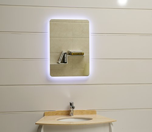LED Badspiegel 40x60cm Badezimmerspiegel mit abgerundeten Ecken und LED-Beleuchtung Wandspiegel Kaltweiß 6400K IP44