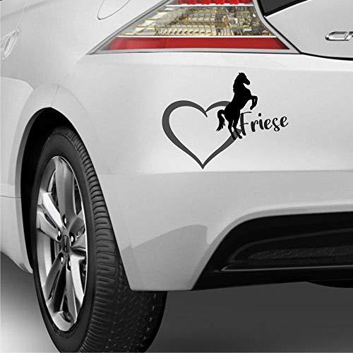 Pegatina Promotion Herz mit Pferde Silhouette Typ2 ca 25cm & Schriftzug Friese 2farbig reiten Reitsport Aufkleber Sticker Profi Qualität