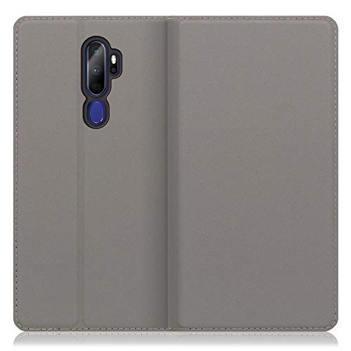 LOOF SKIN Slim OPPO A5 2020 ケース 手帳型 カバー 極薄 ベルト無し カード収納 カードポケット 薄い 軽い スタンド機能 手帳型ケース スマホケース シンプル 手帳型カバー (グレー)