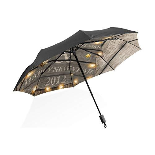 FANTAZIO Reizen paraplu hout kerstboom zon/regen paraplu