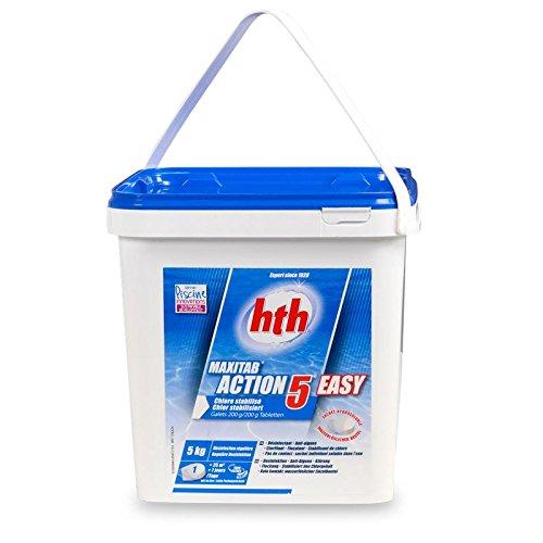 NEUHEIT - hth MaxiTab 200g ACTION 5 EASY (wasserlöslicher Beutel), 5 in 1 MultiTabs zur Poolwasserpflege