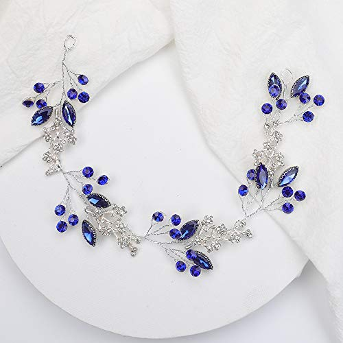 weichuang Diadema de cristal azul plateado para el cabello, con diamantes de...