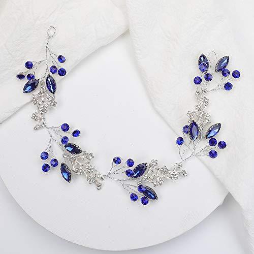 TSP Accesorios para el pelo de plata y cristal azul para boda...