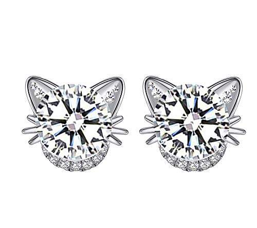baobei cat Silver Stud Earrings for Women jewellery 925 Sterling Silver Hypoallergenic Small Sleeper Cartilage Studs, with Clear 5A Cubic Zirconia Earrings Gift for Women Girls With Jewellery Box
