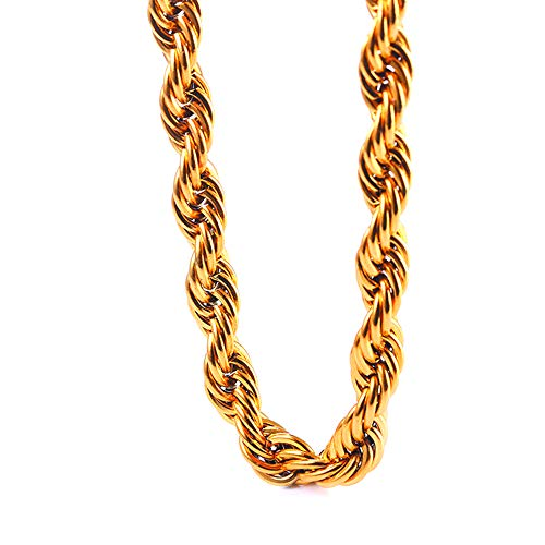 """TUOKAY Direct 9mm Faux Big Gold Rope Chain Necklace, Huge Sparkling 18K Fake Gold Rope Necklace Chain, 24"""" Very Pretty School Rapper Kit Costume Accessory"""