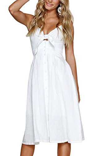 ECOWISH Womens Dresses Summer Tie Front V-Neck Spaghetti Strap Button Down A-Line Backless Swing Midi Dress White S