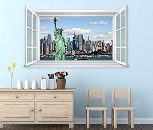 3D Wandtattoo Fenster New York Freiheitsstatue Wand Aufkleber Wanddurchbruch Wandbild Wohnzimmer 11BD1175, Wandbild Größe F:ca. 97cmx57cm