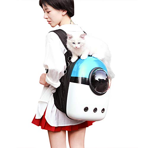 IBLUELOVER - Bolsa de transporte para perros, gatos, mochila de mascotas, astronauta, bolsa transparente y transpirable, para transportar, portátil, para gatito, cachorro, coche, tren avión