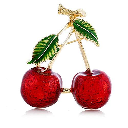 Broche de Navidad con diseño de cerezo rojo con forma de árbol de hojas verdes para mujeres y niñas, para fiestas, bodas, banquetes y joyas