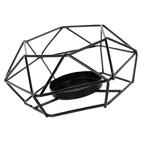 Non-brand Candelabro de Candelabro de Linterna Geométrica Hueca de Alambre de Hierro 3D, Candelabro de Té, Luz de Té, Decoración de Fiesta de Boda - L, Individual
