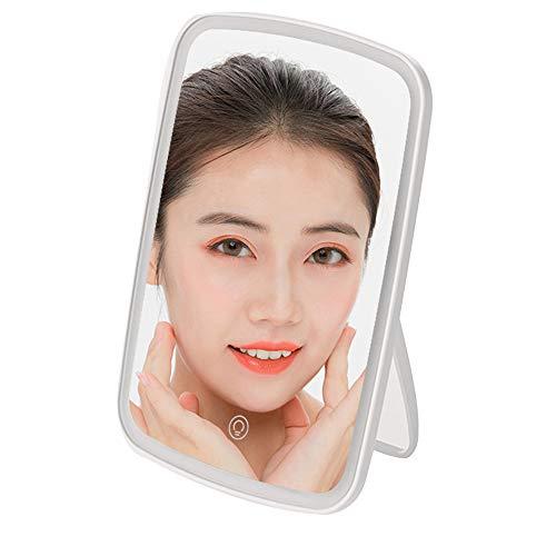 Miroir de Maquillage LED Miroir de beauté Pliant Portable Contrôle de l'angle réglable Contrôle Tactile Miroir HD Charge de l'interface USB