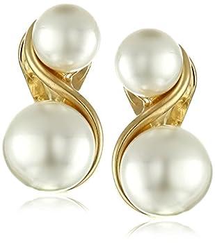 Anne Klein Gold-Tone & Faux Pearl Clip-On Earrings