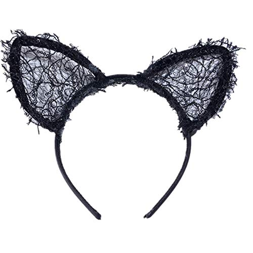 Sayla Diadema Orejas de Gato Halloween Encajes Diadema de Gato para Maquillaje/Días...