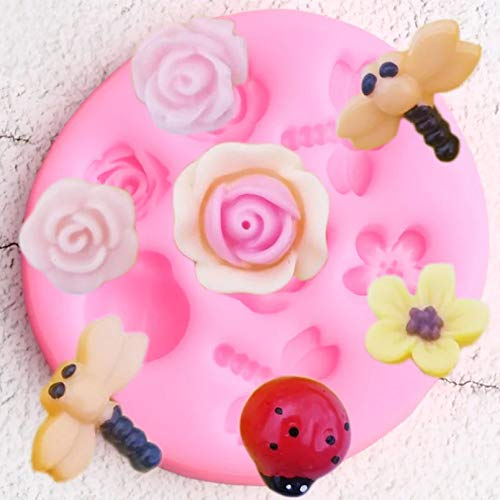 SKJH Dragonfly Silicone Molds Ladybug Rose Flower Cupcake Topper Cake Decorating Tools Candy Clay Chocolate Moulds