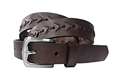 """Toneka Ladies Brown Western/Steampunk Lace Cutout Fish Scales Texture Full grain Leather Belt (S (fits 32"""" waist))"""
