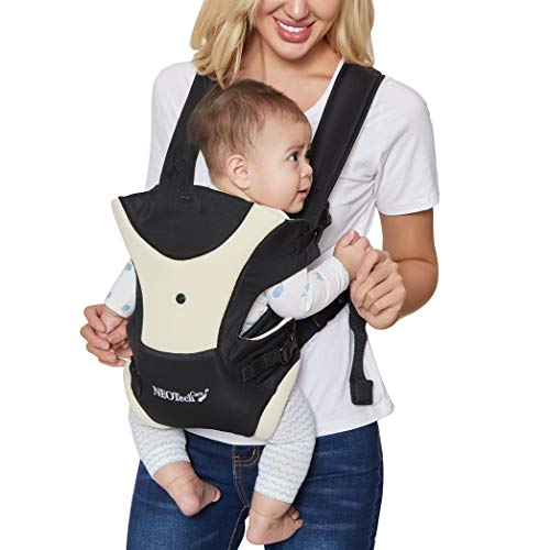 Neotech Care Baby Carrier - Front and Back Carrying - Adjustable, Breathable & Lightweight - for Infant, Child, Toddler - Black with Beige
