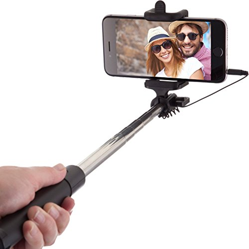 Power Theory Selfie Stick [No Bluetooth] for iPhone 7 6S 6 Plus 5 5s 5c Samsung Galaxy S8 S7 S6 S5 Android/Apple Phones (Black)