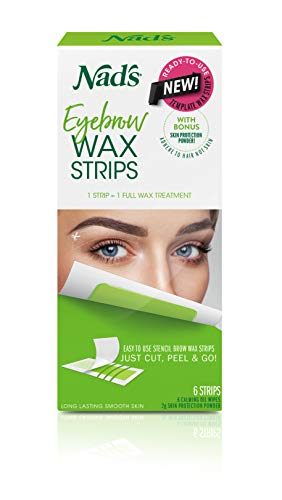 Nad#039s Eyebrow Wax Strips  Facial Hair Removal for Women  Eyebrow Wax Kit with 6 Eyebrow Waxing Strips  6 Calming Oil Wipes  2g Skin Protection Powder