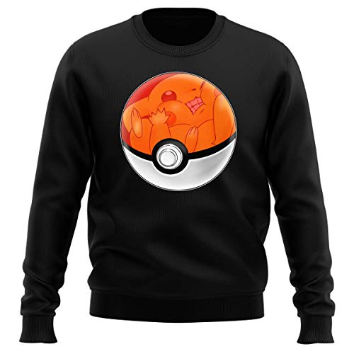 Okiwoki Pull Noir Parodie Pokémon - La Poké Ball de Pikachu - Pika Pas Cool ! (Sweatshirt de qualité Premium de Taille M - imprimé en France)