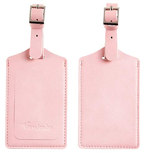 Travelambo Leather Luggage Bag Tags (Light Pink)