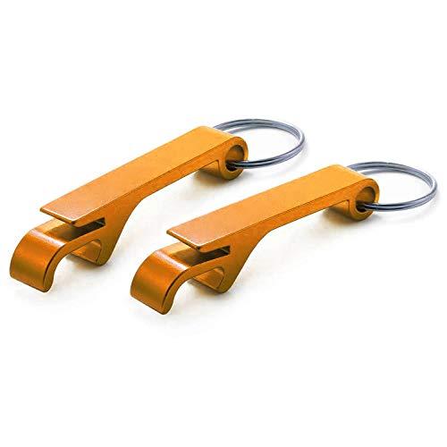 Ganzoo Flaschen-Öffner aus Aluminium für Schlüssel-Anhänger, 2er Set, Lackierung orange metallic