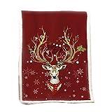 Rubyu Kuscheldecke Weihnachten Zweiseitige Gestrickte Wolldecke Warm Flauschig Weiche Tagesdecke mit Weihnachten Motiv & Schneeflocken (150 x 200cm)