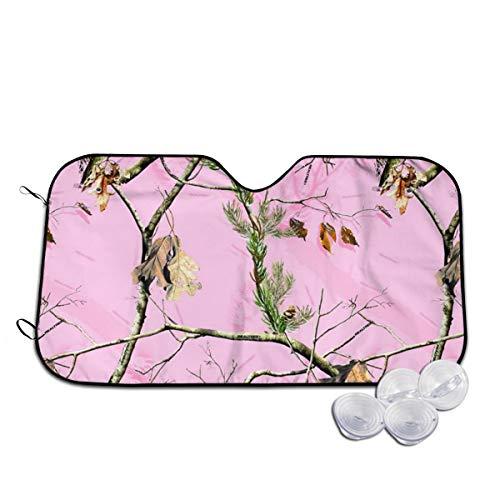 Homlife Pink Camo Tree Car Windshield Cover - UV Rays Protection Heat Shield Cover - Weatherproof Sunshade Keeps Vehicle Cool, Easy to Use - 2