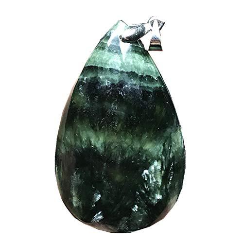 DUOVEKT Colgante grande de serafinita verde natural, piedra de cristal de serafinita para mujeres y hombres, cuentas de 44 x 27 x 10 mm, cuentas de plata con gota de agua, joyería