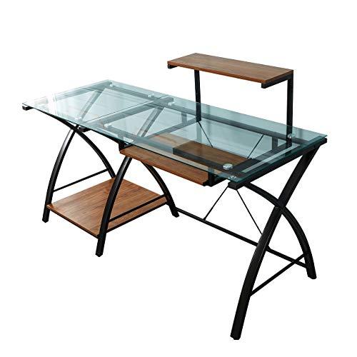 soges Schreibtisch Computertisch Gaming Tisch aus hochwertigem durchsichtigem Glas und Metallframe,modern Aussehen,abnehmbare Tastaturablage und CPU Ständer,Monitor Regal,155 * 60 * 75CM