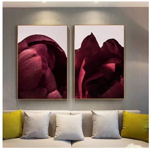 Póster de lienzo de flores artísticas con pétalos de rosas rojas, pintura con estampado floral, imagen de pared de estilo nórdico, decoración moderna para sala de estar, 40x60 cm, sin marco