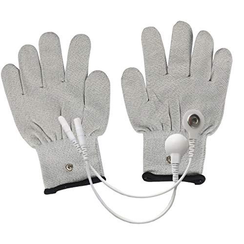 Healifty Guantes conductivos electrodos EMS guantes con electrodos a presión, guantes de masaje para máquina TENS EMS para artritis física, dedo gatillo (M gris)