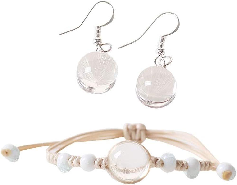 Dandelion Dangle Earrings and Bracelet Rope Weave Adjustable Natural Dried Dandelion Seed Flower Jewelry for Women Girls